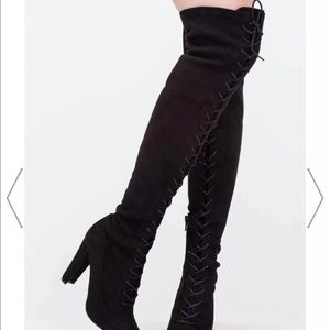 Shoes - Over the knee boots lace up